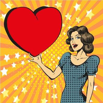 Pop art illustration of happy woman in love