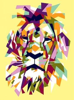 ライオンのポップアートイラストヘッド