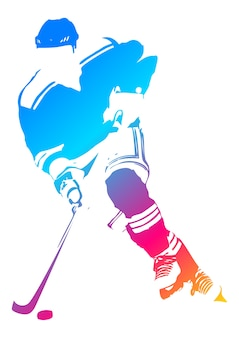 Pop art illustration of a hockey player