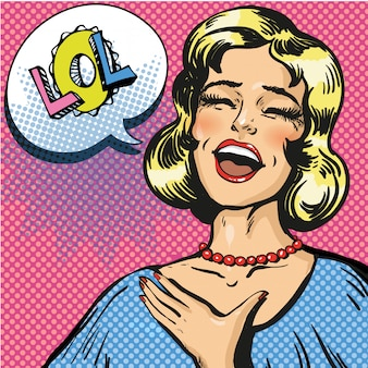 Pop art illustration of laughing out loud woman