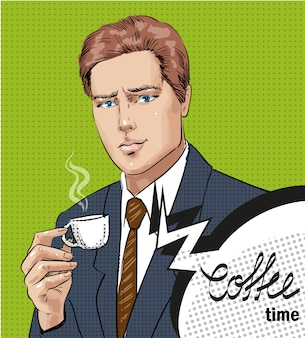 Pop art illustration of man with cup of coffee