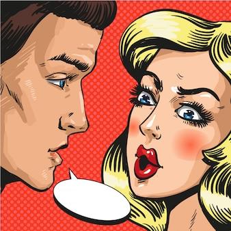 Поп-арт иллюстрация пара разговаривают друг с другом