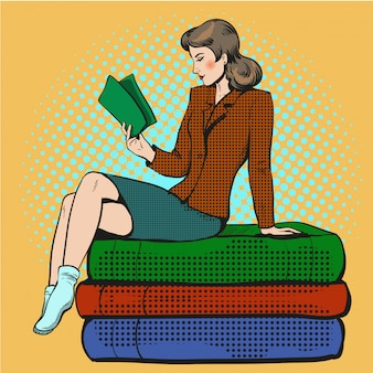 Pop art illustration of young woman reading book