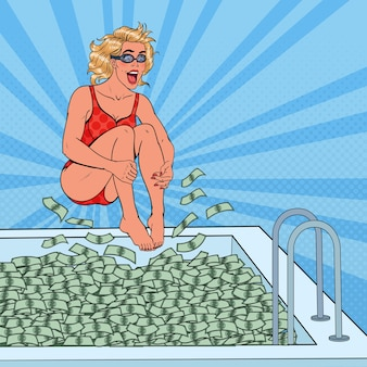 Pop art joyful woman jumping to the pool of money. successful business woman. financial success, wealth concept.