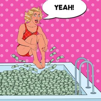 お金のプールにジャンプするポップアートうれしそうな女性。成功したビジネスウーマン。経済的な成功、富の概念。