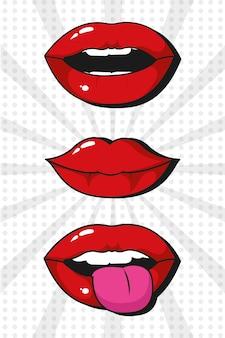 Pop art lips cartoons