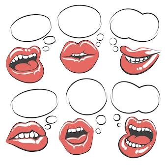 Pop art lips with speech bubble