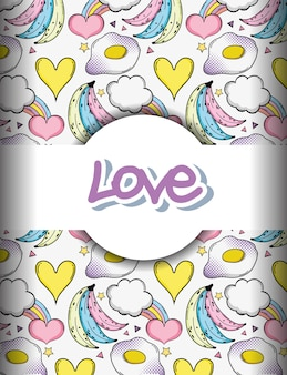 Pop art love background with bananas and hearts