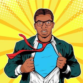 Pop art male afro american businessman superhero