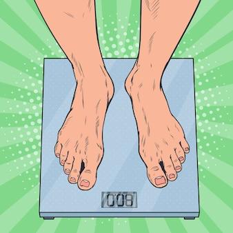 体重計のポップアート男性の足