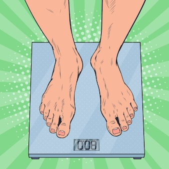 Pop art male feet on weighing scales