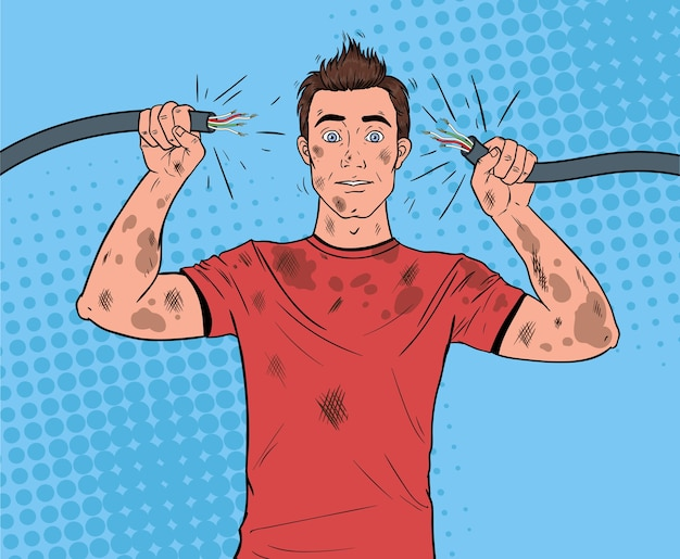 Pop art man holding broken electrical cable after domestic accident. funny dirty electrician.
