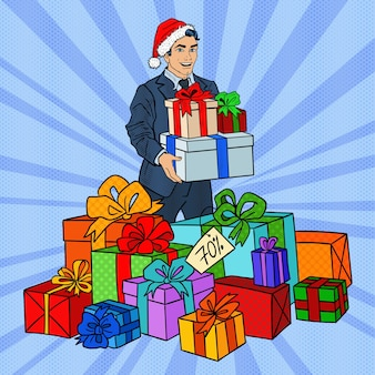 크리스마스 판매에 선물 산타 모자에 팝 아트 남자.