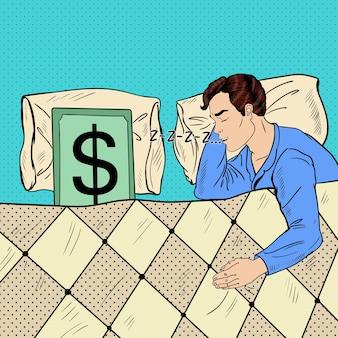 팝 아트 남자 달러 지폐와 함께 침대에서 자 고. 삽화