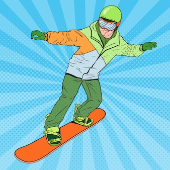 Pop art man in sportswear with snowboard. snowboarder doing trick.