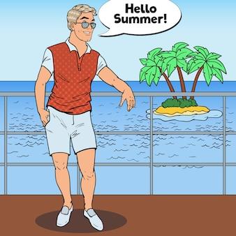 プライベートヨットの上に立っているポップアートの男