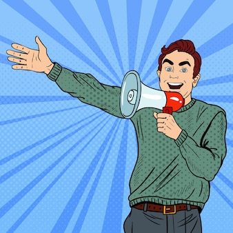 Поп-арт человек с мегафоном, продвигающий большие продажи.