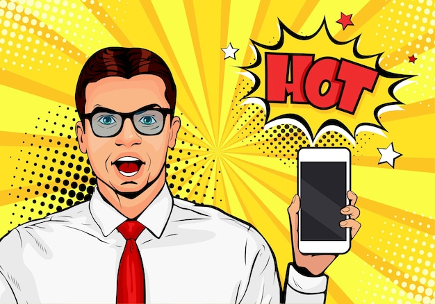 Pop art man with phone in the hand in comic style
