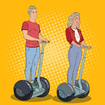 Pop art man and woman riding segway