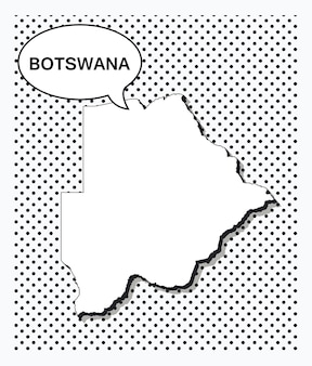 Pop art map of botswana