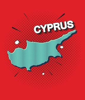 Pop art map of cyprus