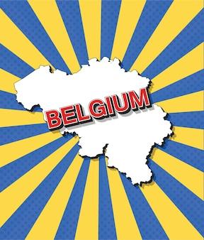 Карта бельгии в стиле поп-арт