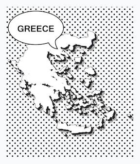 Карта греции в стиле поп-арт