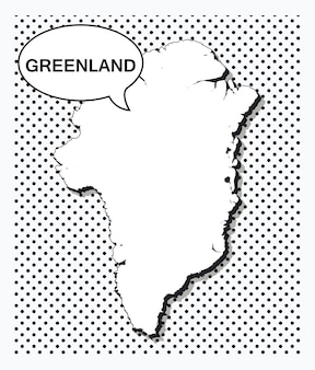 Карта гренландии в стиле поп-арт