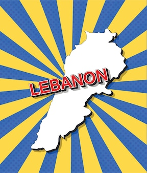 Карта ливана в стиле поп-арт