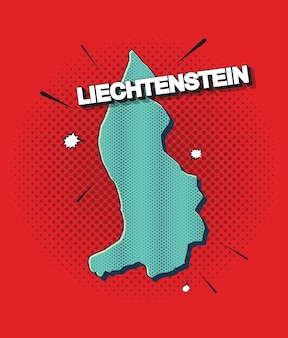 Карта лихтенштейна в стиле поп-арт