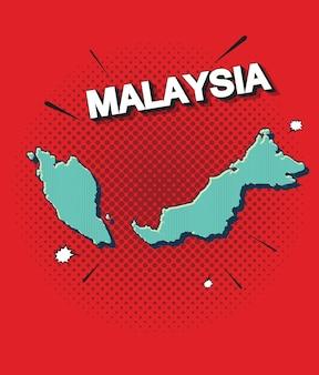 Карта малайзии в стиле поп-арт