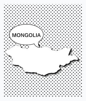 Карта монголии в стиле поп-арт