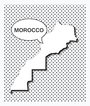 Карта марокко в стиле поп-арт