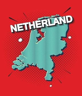 Карта нидерландов в стиле поп-арт