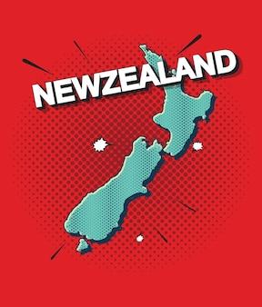 Карта новой зеландии в стиле поп-арт