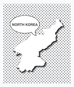 Карта северной кореи в стиле поп-арт