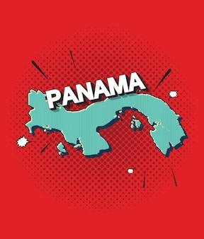 Карта панамы в стиле поп-арт