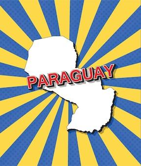 Карта парагвая в стиле поп-арт