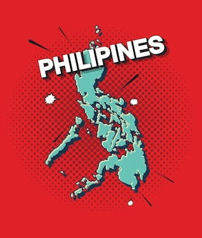 Карта филиппин в стиле поп-арт