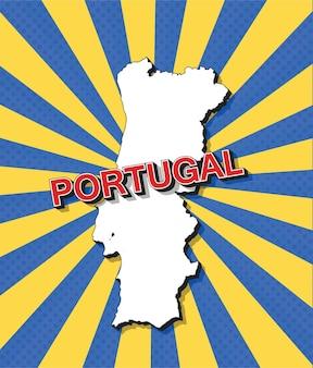 Карта португалии в стиле поп-арт