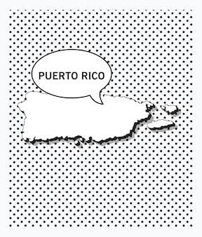 Поп-арт карта пуэрто-рико