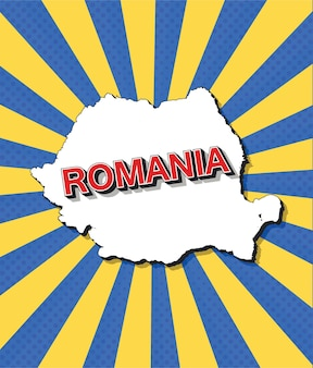 Карта румынии в стиле поп-арт