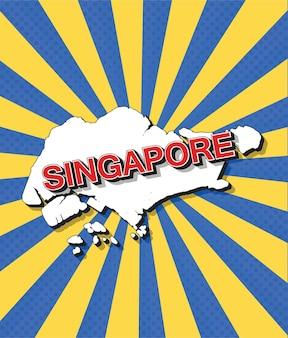Карта сингапура в стиле поп-арт