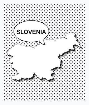 Карта словении в стиле поп-арт
