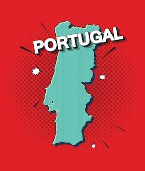 Pop art map of portugal