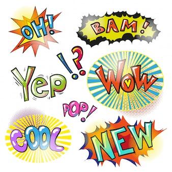 Pop art modern patches and speech bubbles