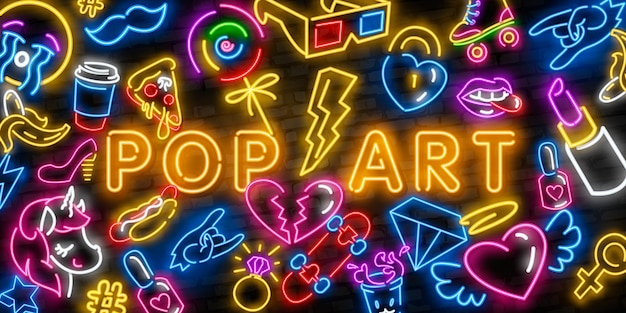 Pop art neon icons set