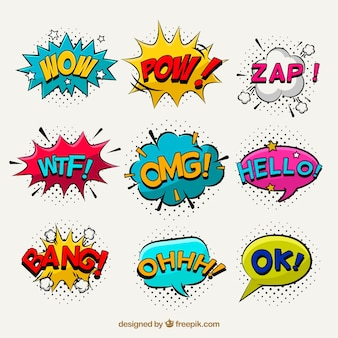 Pop art pack of comic stickers