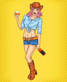 Pop art pin up illustration of a rodeo girl
