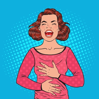 Pop art portrait of happy woman laughing hard with hands on her belly. positive emotion facial expression.